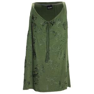 2x Green Sleeveless Soustache Trimmed Shirt Plus
